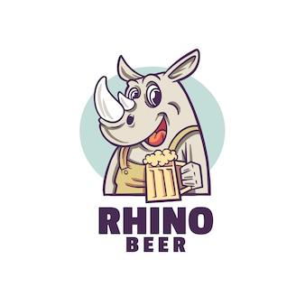 Logo di birra felice rinoceronte