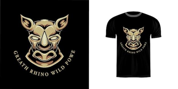 Illustrazione della testa di rinoceronte per il design della maglietta