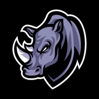 Modello di logo mascotte testa di rinoceronte Vettore Premium