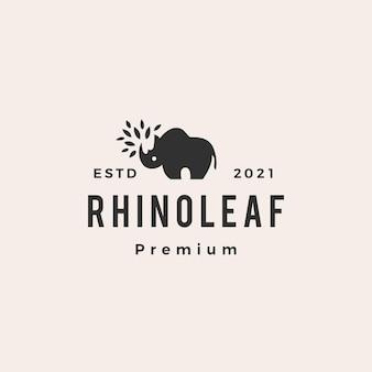 Logo vintage di rinoceronte foglia hipster
