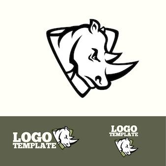 Concetto di logo di rhino per squadre sportive, marchi, ecc.