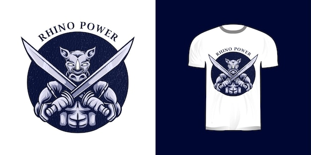 Illustrazione di guerriero rinoceronte per il design della maglietta