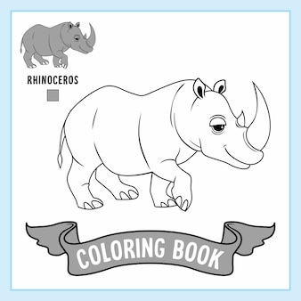 Rhinoceros animals rhino coloring pages book