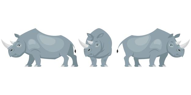 Rinoceronte in diverse pose illustrazione