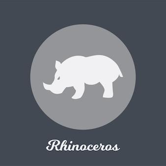 Disegno dell'icona piatto di rinoceronte, elemento simbolo del logo