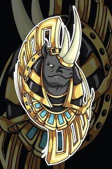 Rinoceronte nel design del personaggio della mitologia di dio dell'egitto