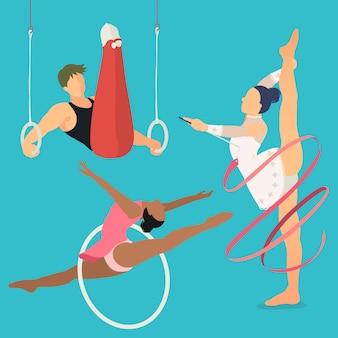 Evento di gioco estivo di ginnastica ritmica e artistica in stile piatto