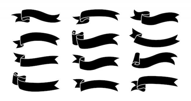 Set di glifi nastro nero. nastro decorativo piegato su un lato raccolta di icone. moderno design monocromatico, nastri di sagoma in stile cartone animato. kit di icone web di banner di testo. illustrazione isolata