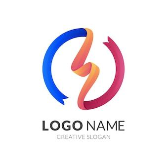 Logo a nastro con illustrazione di design del cerchio, logo thunder