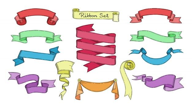 Elemento del nastro per l'insegna o la retro etichetta in bianco per l'insieme dell'illustrazione della decorazione del nastro decorativo del modello d'annata su fondo bianco