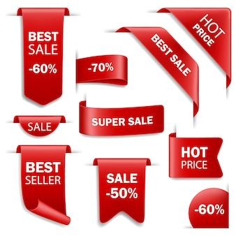 Distintivi di vendita del nastro, cartellini dei prezzi. tag impostati.