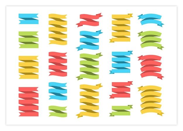 Illustrazione della raccolta di vettore dell'insegna del modello del nastro grande insieme variopinto dei nastri di forme differenti