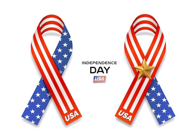 Raccolta di giorno dell'indipendenza della bandiera dell'america dei nastri