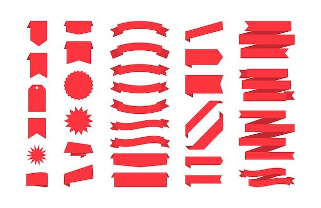 Collezione di nastri isolata su bianco set di badge e tag di banner rossi