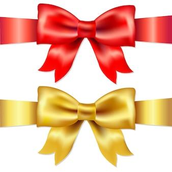 Nastri, fiocco di raso regalo rosso e oro, isolato su sfondo bianco, illustrazione