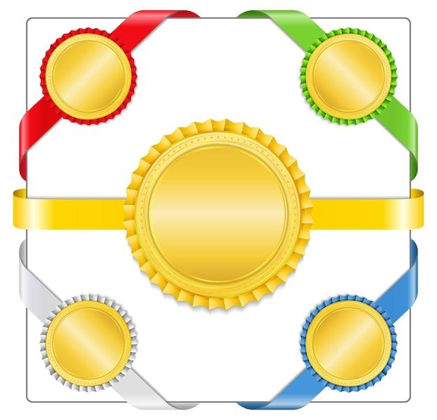 Nastri con medaglie d'oro, illustrazione