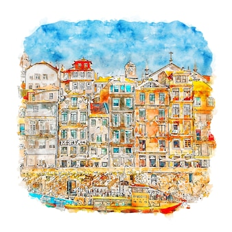 Illustrazione disegnata a mano di schizzo dell'acquerello di ribeira porto portogallo