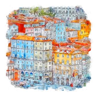 Ribeira portogallo illustrazione disegnata a mano di schizzo ad acquerello