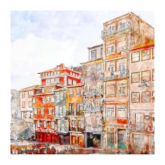 Illustrazione disegnata a mano di schizzo dell'acquerello di ribeira rio douro porto portogallo