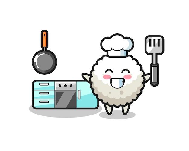 Illustrazione del personaggio della palla di riso mentre uno chef sta cucinando, design in stile carino per maglietta, adesivo, elemento logo