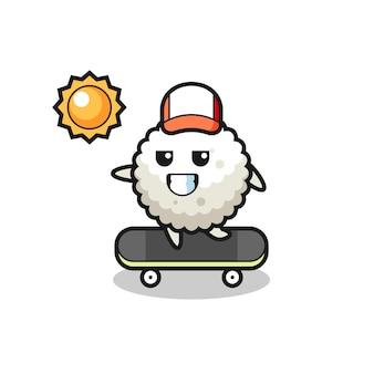 L'illustrazione del personaggio della palla di riso cavalca uno skateboard, design in stile carino per maglietta, adesivo, elemento logo