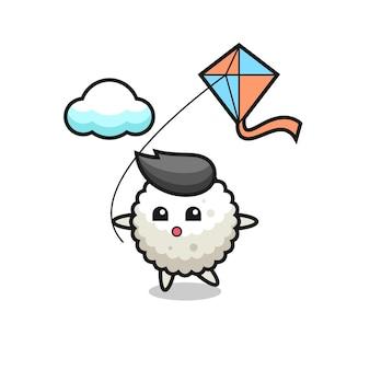 L'illustrazione della mascotte della palla di riso sta giocando a un aquilone, un design in stile carino per maglietta, adesivo, elemento logo
