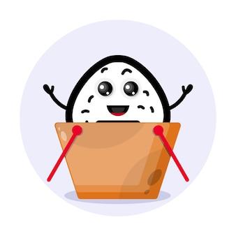 Logo del simpatico personaggio del carrello della spesa della pallina di riso Vettore Premium