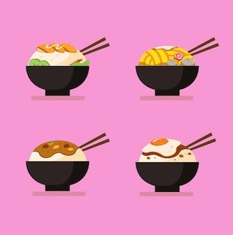 Insieme dell'icona della raccolta del menu della ciotola e di tagliatella di riso, tagliatella di pollo con polpetta, riso al curry e riso del pollo con l'uovo. illustrazione di cibo in stile cartone animato piatto