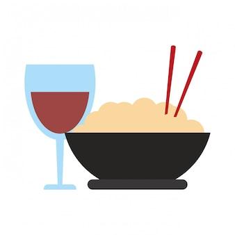 Ciotola di riso e tazza di vino