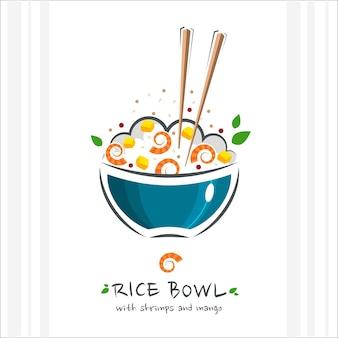 Ciotola di riso con gamberetti e mango. cibo salutare . illustrazione con bacchette e poke bowl con riso