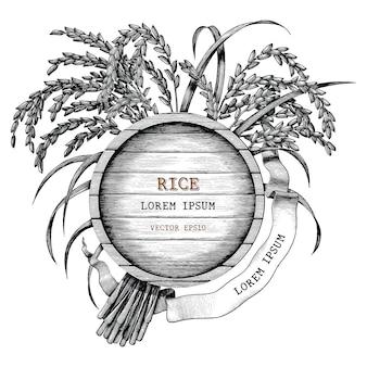 Stile d'annata dell'incisione di tiraggio della mano di logo di concetto del riso isolato su fondo bianco