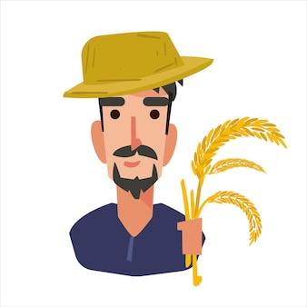 Uomo contadino di riso