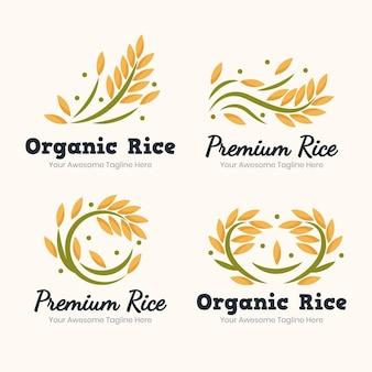 Collezione di modelli di logo di riso