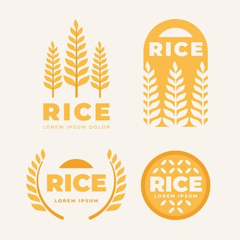 Raccolta di modelli di logo di riso
