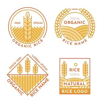 Insieme di modelli di logo di riso
