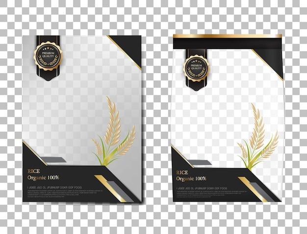 Pacchetto di riso thailandia prodotti alimentari, banner in oro nero e modello di poster disegno vettoriale riso. Vettore Premium