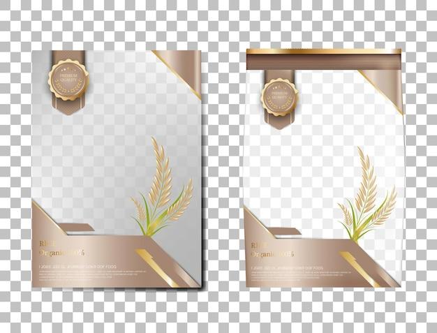 Riso pacchetto thailandia prodotti alimentari, banner oro marrone e poster modello disegno vettoriale riso.