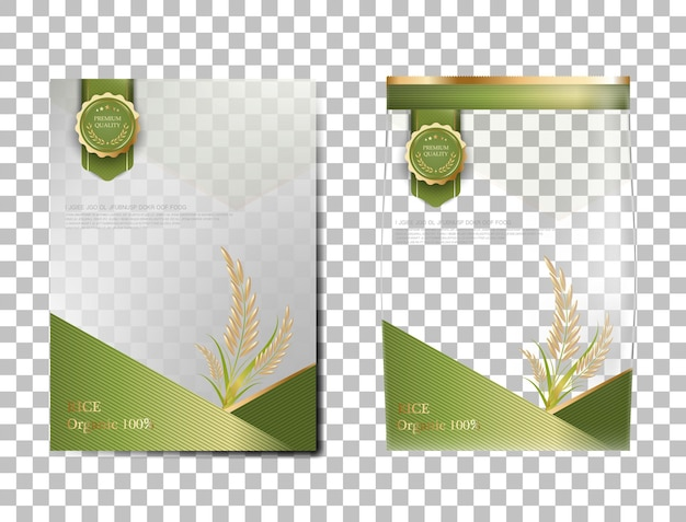 Riso pacchetto thailandia prodotti alimentari, banner oro verde e poster modello disegno vettoriale riso.
