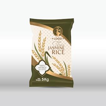 Pacchetto di riso thailandia prodotti alimentari, illustrazione
