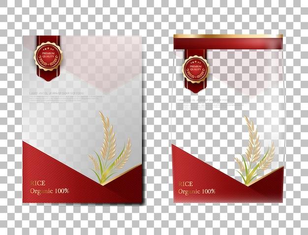 Rice package thailandia prodotti alimentari, banner in oro rosso e modello di poster disegno vettoriale riso.