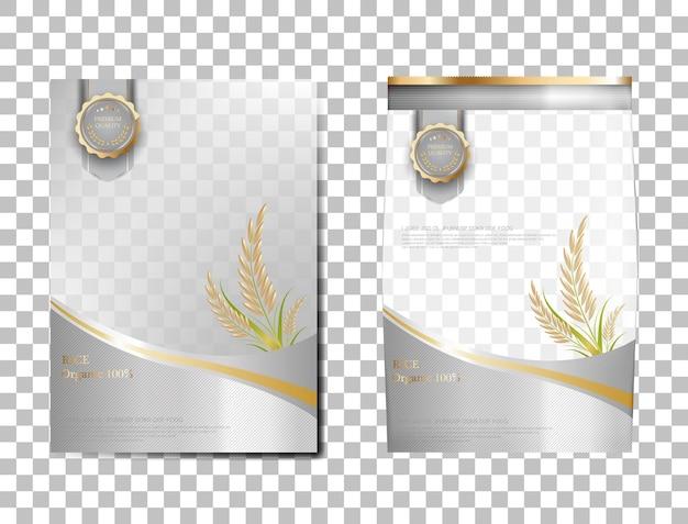 Riso pacchetto thailandia prodotti alimentari, banner in oro bianco e poster modello disegno vettoriale riso.