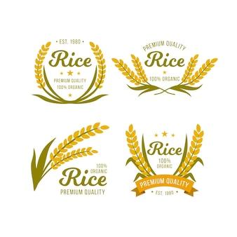 Modello di logo di qualità premium di riso