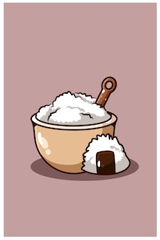 Fumetto di riso e sushi sulla ciotola isolata sulla porpora