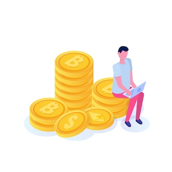 Uomo d'affari ricco che si siede sulla moneta, concetto isometrico delle colonne del bitcoin. illustrazione