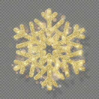 Ricca decorazione natalizia con glitter glitter oro. lustro fiocco di neve isolato su sfondo trasparente.
