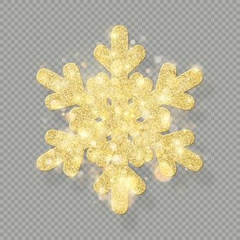Ricca decorazione natalizia con glitter glitter oro. splendi fiocco di neve su sfondo trasparente.