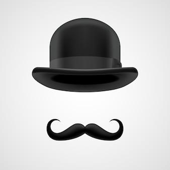 Ricco gentiluomo con baffi e bombetta