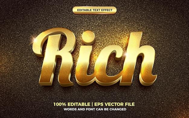 Ricco effetto di testo modificabile in oro 3d