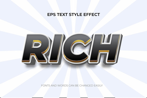 Effetto di stile di testo modificabile 3d nero di lusso ricco