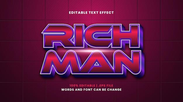 Effetto di testo modificabile uomo ricco in moderno stile 3d